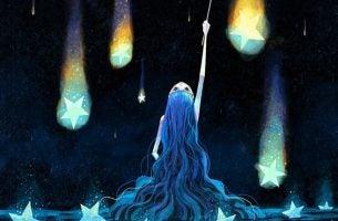 Meisje met heel lang haar dat kijkt naar vallende sterren want wij zijn sterrenstof