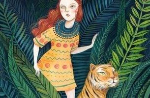 Meisje dat samen met een tijger in de jungle staat