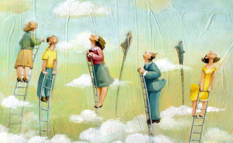 De beste mensen die allemaal op een ladder staan die helemaal tot de hemel reikt