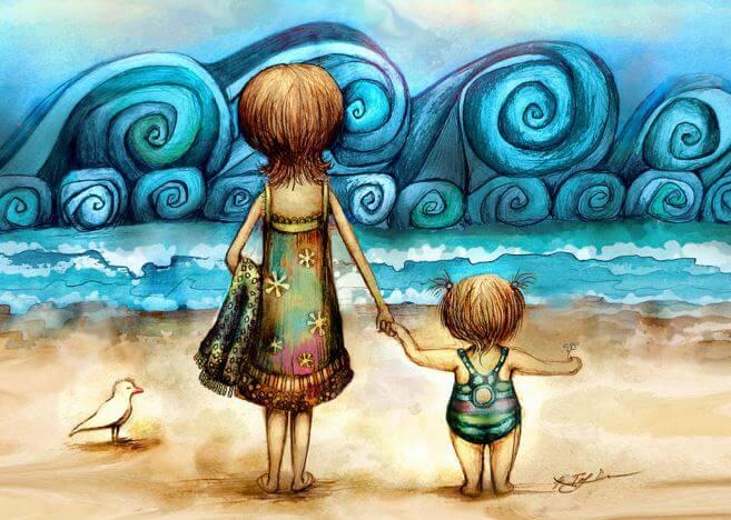 Moeder en dochter samen op het strand