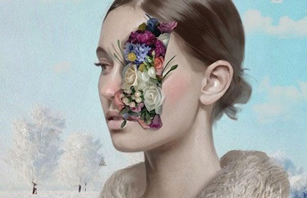 Meisje wiens oog bedekt is met bloemen