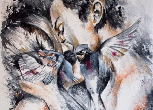 Schilderij van twee mensen die elkaar hevig zoenen, maar niet vanuit aanhankelijkheid