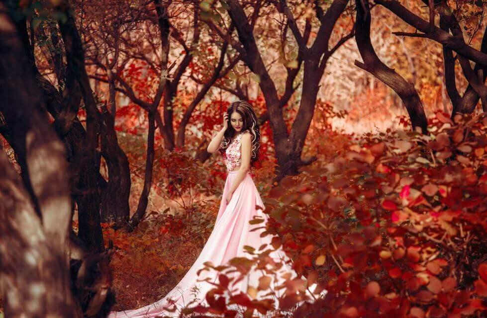 Een dappere prinses in een bos