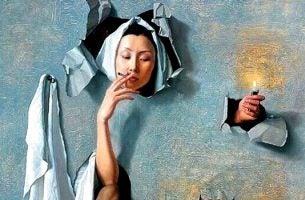 Vrouw die last heeft van een rookverslaving