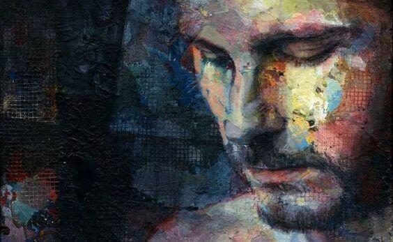 Schilderij van een man die met zijn hoofd omlaag kijkt want hij wil zijn negatieve gedachten uitschakelen