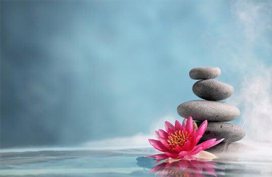 De sereniteit van een stapel stenen met een bloem ernaast