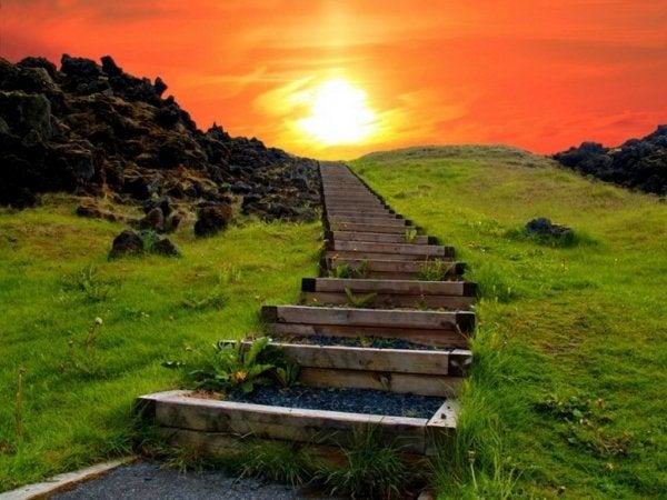 Trap die leidt naar een heuvel met geweldig uitzicht voor mensen die een ware vechter in zich hebben