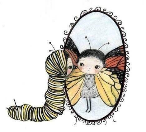 Hou van jezelf net als deze rups die zichzelf nu al ziet als een mooie vlinder