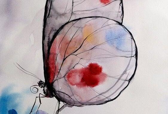 Vlieg met gekleurde vlekken op zijn vleugels