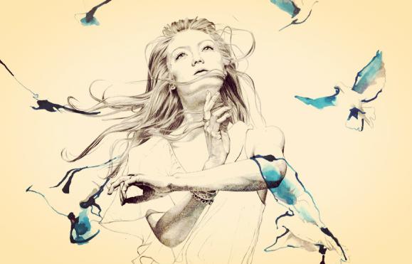 Tekening van een meisje tussen allemaal blauwe vogels