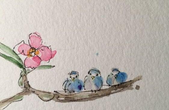 Drie vogeltjes op een takje die alle drie verschillende soorten geesten hebben