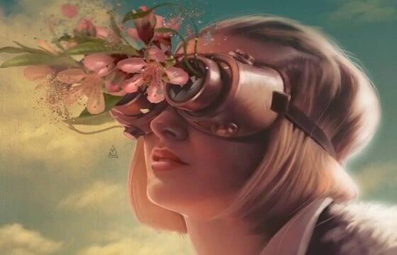 Vrouw met een masker op waar bloemen uit groeien