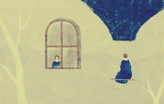 Vrouw die kijkt hoe haar leven voorbijgaat en zegt: Ik heb mezelf nodig