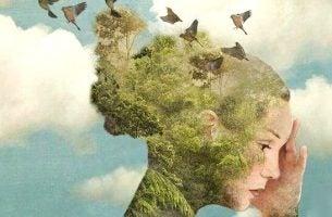 Vrouw wiens haar veranderd is in een bos omdat ze ruimte nodig heeft maar niemand wil haar die ruimte geven