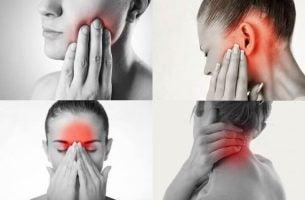 Vrouw met pijn als gevolg van tandenknarsen