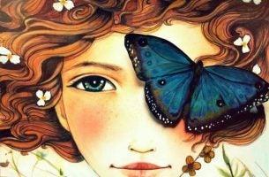 Vrouw met een vlinder voor haar oog want liefde is je ziel delen