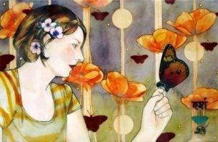 Vrouw met vlinder op haar hand die zich openstelt voor het onverwachte