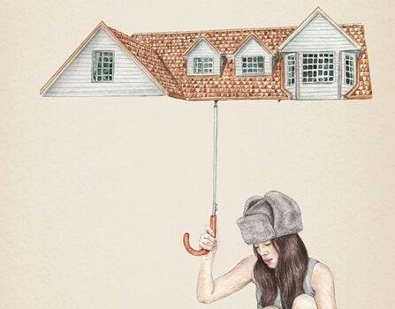 Meisje dat een dak boven haar hoofd hoofd om zichzelf ruimte te geven