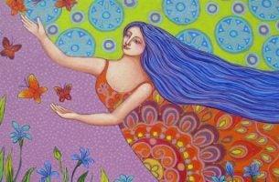 Vrouw die de vlinders volgt en geniet van de overvloed in haar leven
