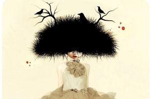 Vrouw met een vogelnest op haar hoofd waar vogels in zitten