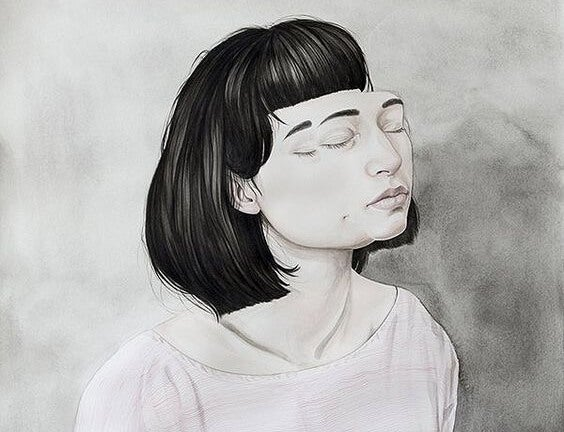 Meisje wiens gezicht haar gezicht verlaat