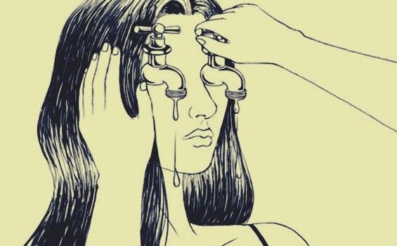 Door angst blijven de ogen van een meisje lopen als een kraan