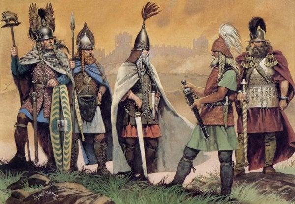 Keltische ridders die nadenken over leven en liefde