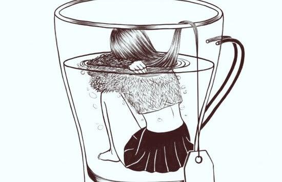Door angst voelt een meisje zich alsof ze verdrinkt in een kopje thee