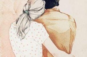 Vrouw die haar man troost omdat hij droevig is