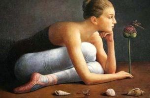 Ballerina die bewondering heeft voor de betekenisvolle details van het leven