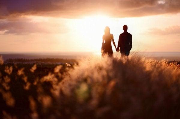 Chemie van de liefde zichtbaar in twee mensen die elkaars handen vasthouden bij ondergaande zon