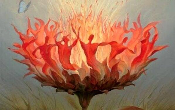 Bloem symboliseert het vuur in de mens