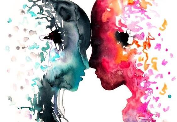 Twee mensen in olieverf die hun hoofden tegen elkaar houden
