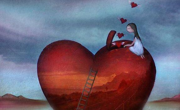 Meisje dat allemaal kleine hartjes vrijlaat uit een groot hart