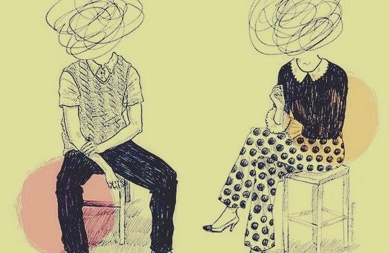 Twee mensen wiens hoofden zijn doorgekrast als teken van hun giftige vriendschap