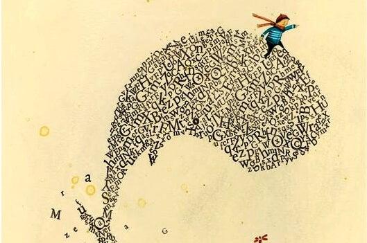 Jongen op walvis van letters, want een kind dat in zichzelf gelooft kan van alles bereiken
