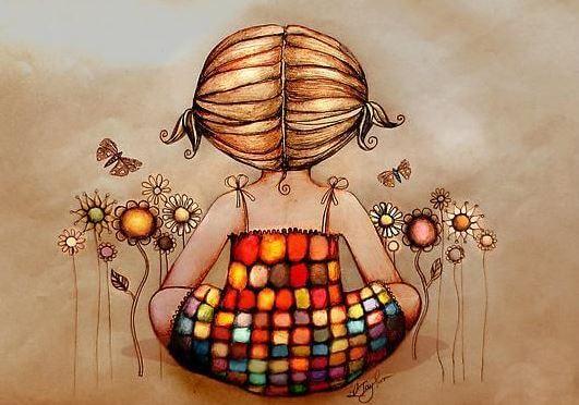 Meisje dat mediteert tussen de bloemen