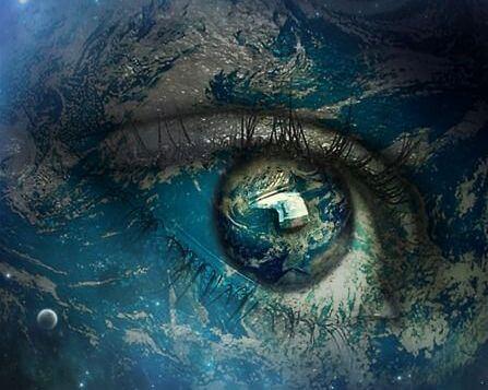Persoon met een kosmische blik op de wereld