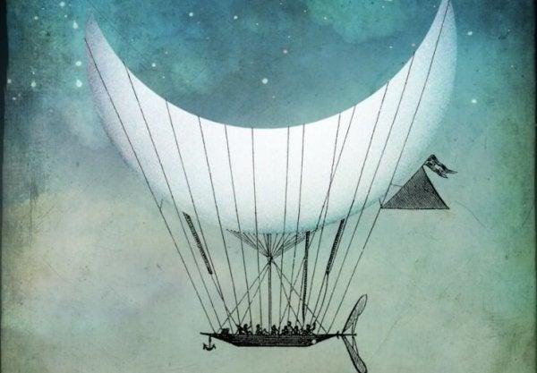 Mensen die in een bootje zweven aan de maan