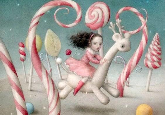 Een meisje in een fantasiewereld