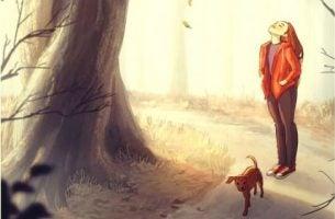 Meisje laat haar hond uit en zegt tegen zichzelf: je doet het geweldig