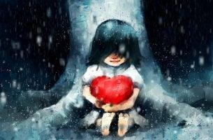 Meisje met hart in de regen als voorbeeld van de invloed van platonische liefde