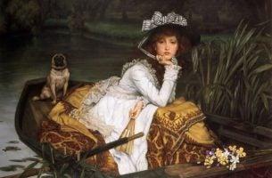 Vrouw in een bootje die lijdt aan het Madame Bovarysyndroom
