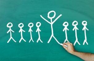 Tekening van meerdere poppetjes als verwijzing naar sociale psychologie