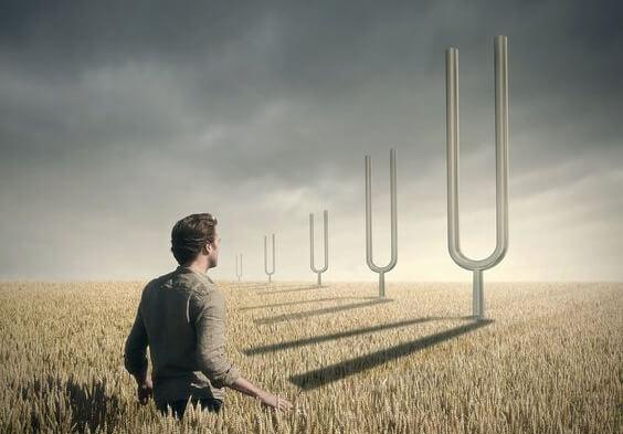 Stemvorken in een tarweveld