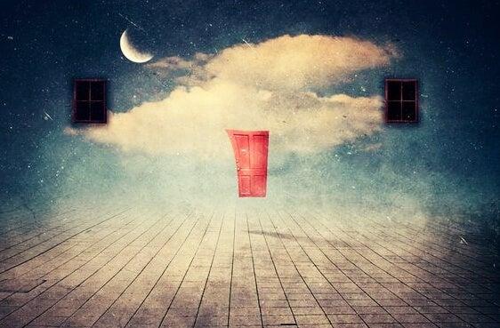 Surrealistische scene van een deur die naar de wolken leidt