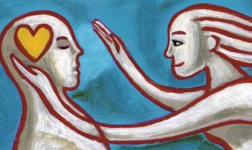 Tekening van twee mensen die elkaar liefde tonen