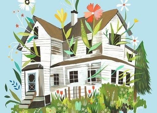 Huis op een heuvel vol met bloemen