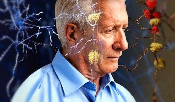 Verbindingen in de hersenen van een oudere man
