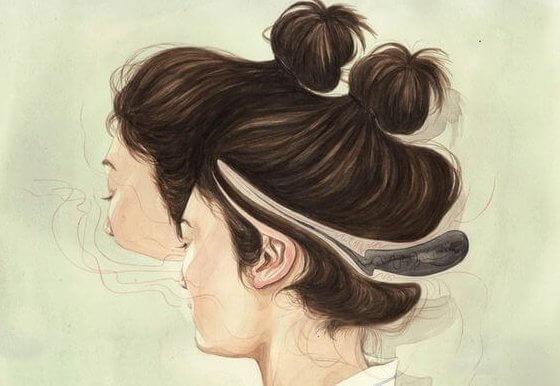 Vrouw met een vervormd hoofd
